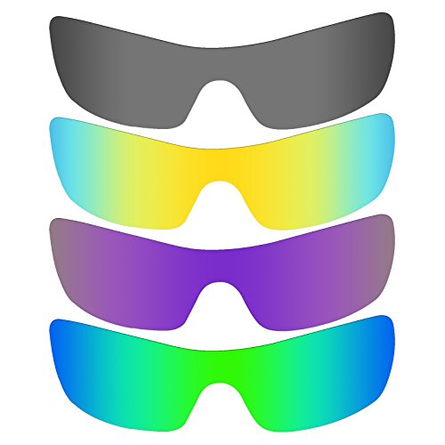 Mryok 4 Pair Polarized Replacement Lenses for Oakley Batwolf Sunglass - Black IR/24K Gold/Plasma Purple/Emerald Green by Mryok