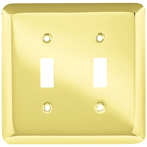 Franklin Brass W10246-PB-C Stamped Round Double Toggle Switch Wall Plate/Switch Plate/Cover, Polished Brass Brass Double Toggle Wall Plate