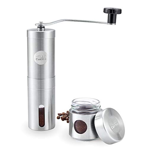 Hello Cucina Manual Coffee Grinder with Adjustable Settings – Conical Burr Mill – Brushed Stainless Steel Whole Bean…