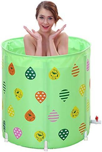 浴槽 肥厚70x70cm折りたたみ風呂バレルアダルトバスタブ折り畳み式のバスタブ入浴バレル三色があります70x70cm 大人用家庭用 (Color : Green, Size : 70x70cm)