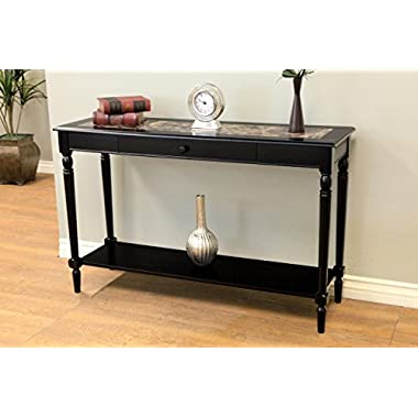Frenchi Home Furnishing Faux Marble Foyer Hall Table with Drawer and Shelf, Black