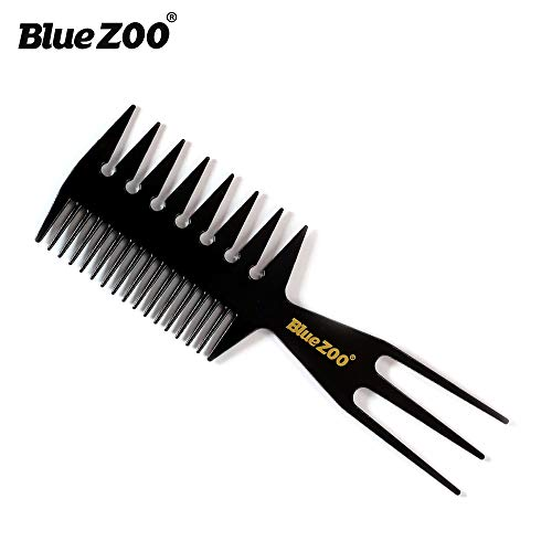 BlueZOO Salon Barbers Comb 3 in 1 Fish Tail Bone Shape Hair Extensions Styling Detangling Coloring Comb for Slicked-back Undercut Mohawk Bowl Cut Quiff