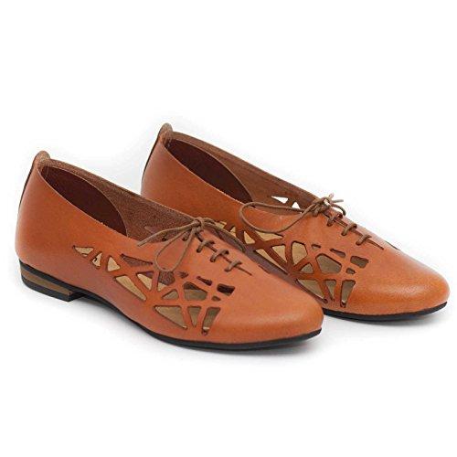 Bangi Camel Leather Oxford Shoes Summer Shoes Cutout rxwYq7Sr0