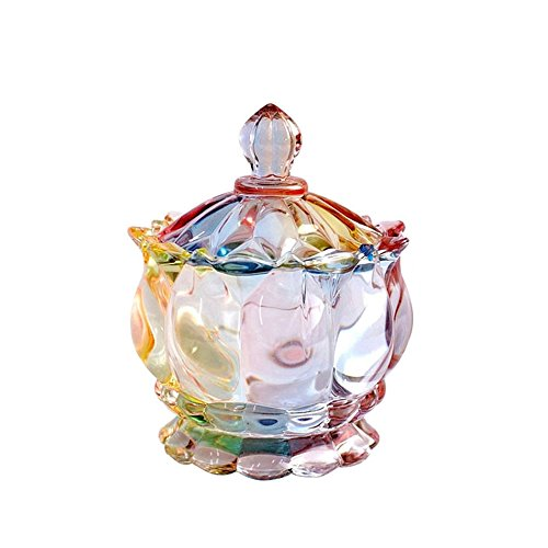 SOCOSY Royal Embossed Clear Glass Apothecary Jar With Lids, Candy Jar Containers Wedding Candy Buffet Jars Crystal Jewelry Box Food Jar 7oz (Flower) (Glass Apothecary Lid With Jar Clear)