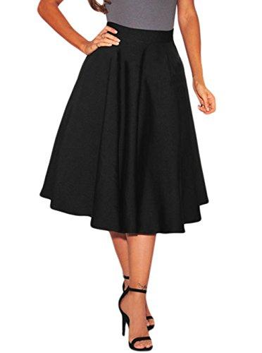 Lovezesent Women's Street Flared Retro Pleated Midi Skirt X-Large Black (Womens Polyester Skirt)