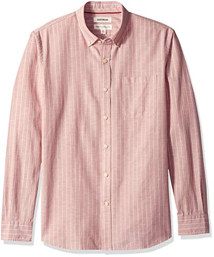(Goodthreads Men's Standard-Fit Long-Sleeve Pinstripe Chambray Shirt, -pink stripe, Large)