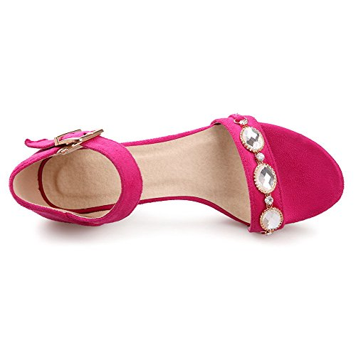 Buckle WeenFashion Frosted Red Sandals Toe Assorted Color Heels Kitten Open Women's fEEqp