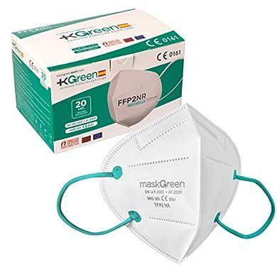 Maskgreen - Mascarilla FFP2 Homologada - Caja 20 Mascarillas FFP2 CE - Fabricadas en España - Alta Protección 97% - Libres de Grafeno - Normativa UNE-EN 149:2001 + A1:2009. a buen precio