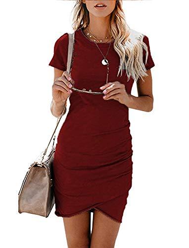 Women's Short Sleeve Bodycon Dresses - Sexy Ruched Tulip Hem Sheath Mini Dresses Large Wine Red