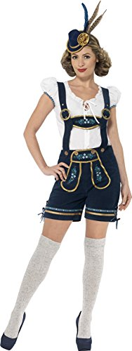 Smiffy's Women's Traditional Deluxe Bavarian Costume, Lederhosen and Top, Around the World, Serious Fun, Size 10-12, 45264