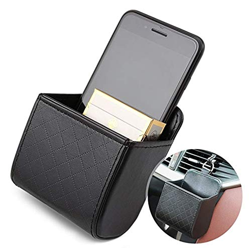- TRUE LINE Automotive Car Interior Air Vent Dash Mount Phone Storage Coin Bag Case Organizer Cellphone Holder Box with Hook (Brown)