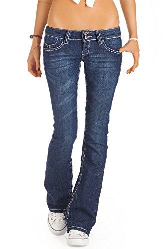 Bestyledberlin Jeans pour femme, Bootcutjean taille basse j73e Bleu
