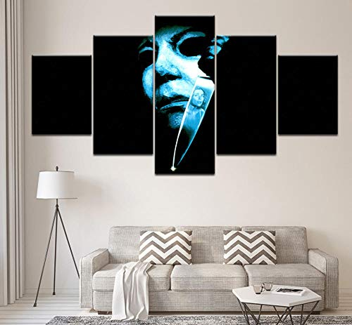 (Feisenqlh Five Panel Paintings Canvas Painting Halloween: Michael Myers' Curse 5 Pieces Mural Art Painting Modular Wallpaper Poster Print Home)