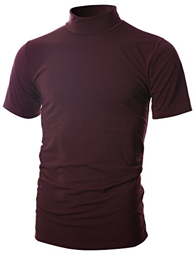 OHOO Mens Slim Fit Soft Cotton Short Sleeve Pullover Lightweight Mockneck with Warm Inside /DCT101-BURGUNDY-2XL