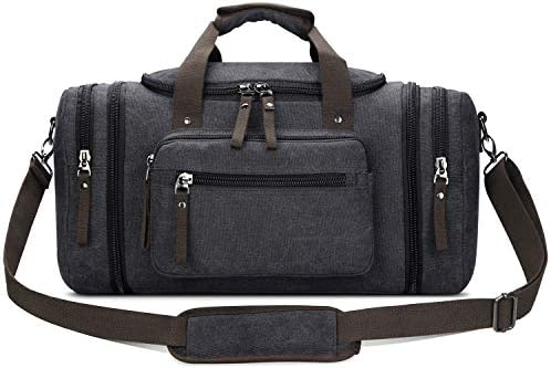 Toupons Travel Duffel Bag for Men Canvas Overnight Weekend Bag Black