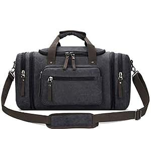 Toupons 20.8'' Large Canvas Travel Tote Luggage Weekender Duffle Bag (Black, X-Large)