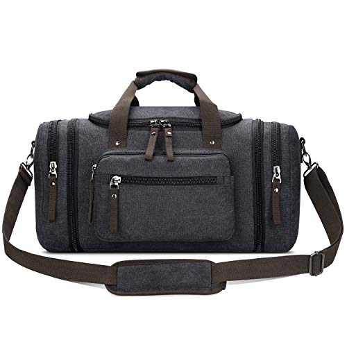 Toupons Travel Duffel Bag for Men Canvas Overnight Weekend Bag (Black ) (Bags For Men)
