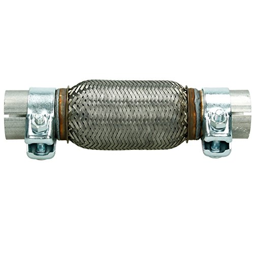 ECD-Germany Stainless Steel Flexi Pipe 60 x 150 mm 2x Clamps Exhaust Joint Repair Flex Tube