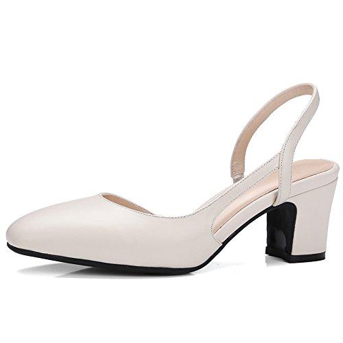 Nine Seven Cuero Moda Puntiagudos Zapatos de Tacón de Grueso de Trabajo para Mujer Beige