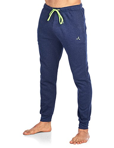 Balanced Tech Men's Jersey Knit Jogger Lounge Pants - Ottoman Ribbed Navy Heather - Large
