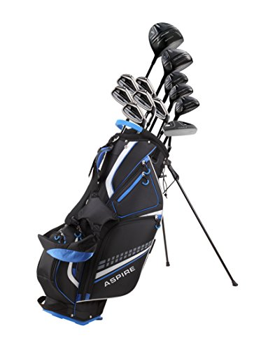 Titanium 4 Iron - 19 Piece Men's Complete Golf Club Package Set With Titanium Driver, 3 Fairway Wood, 3-4-5 Hybrids, 6-SW Irons, Putter, Stand Bag, 5 H/C's - Choose Options! (Regular Size, Adjustable Driver)