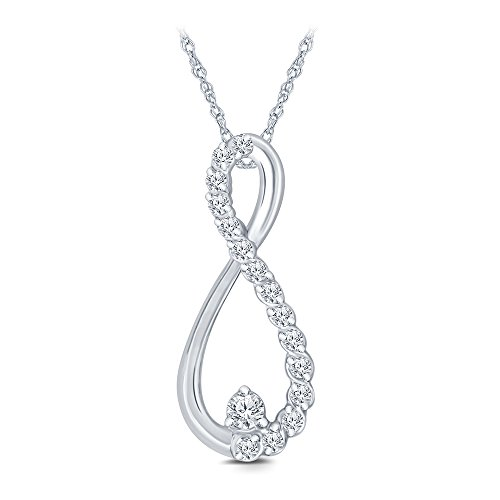 1/10 cttw Round White Diamond Infinity Pendant in 10K White Gold.