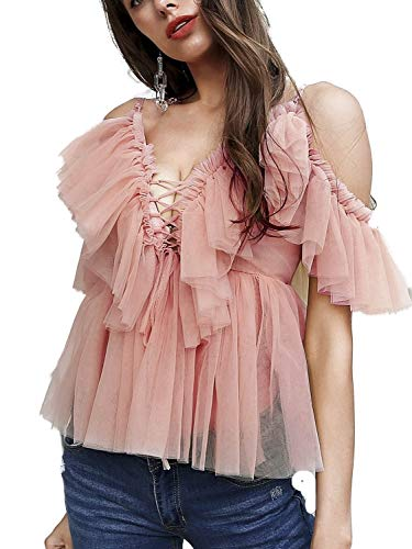 (Simplee Women's Sexy Off Shoulder Deep V Neck Tops Lace Up Ruffle Blouse Shirt (4/6, Pink))
