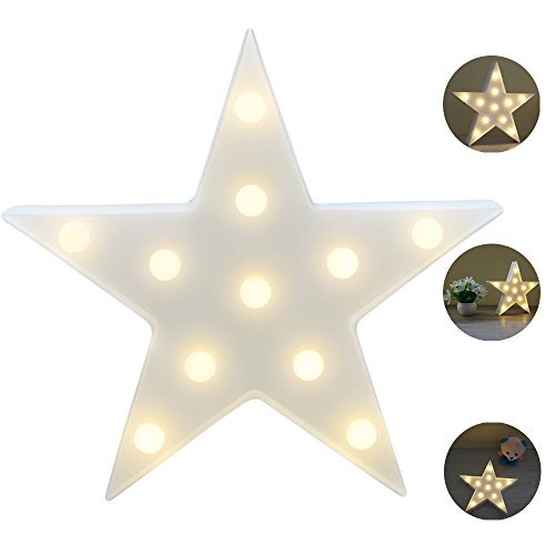 LED Star Light, YiaMia Cute Star Night Table Lamp Light for Kids Room Bedroom Gift Party Home Decorations White