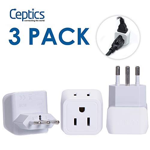 - Italy, Chile Travel Adapter Plug by Ceptics with Dual USA Input - Type L (3 Pack) - Ultra Compact - Safe Grounded Perfect for Cell Phones, Laptops, Camera Chargers and More (CT-12A)