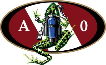 New Amphibious Outfitters Scuba Frog Die Cut Sticker Decal for Your Boat, Tanks or Auto/LID