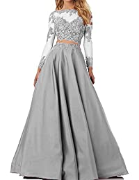 Womens Beaded Long Sleeve Lace Evening Party Dress Formal Gown Two Pieces Prom Dresses Long