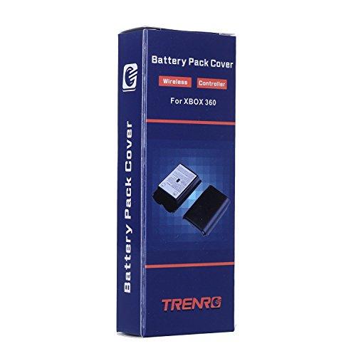 Trenro 2 Pcs Black Battery Pack Cover Shell Case Kit for Xbox 360 Wireless Controller