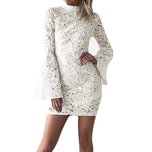 Ann Summers Costumes Christmas (Womens Dress,FUNIC Women's Holiday Festival O Neck Lace Mini Dress Ladies Long Sleeve Dress (L, White))