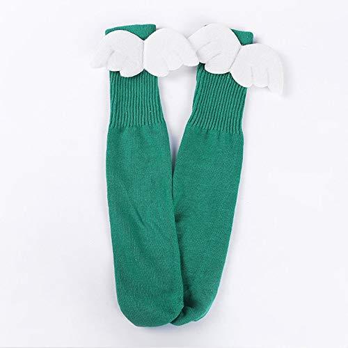 Goldyqin Childrens Girls CLovely Cotton Socks Angel Elf Wings Design Long Knee Stockings Spring Autumn Hose