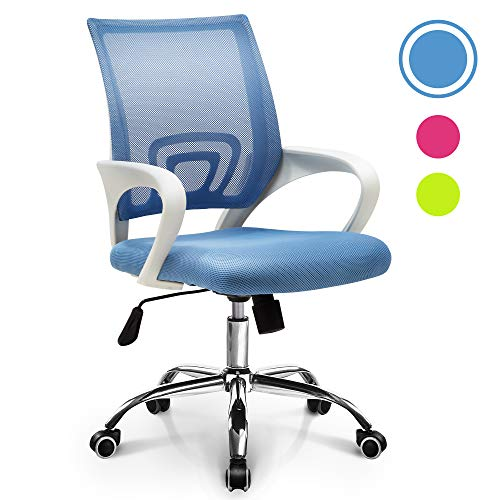 NEO CHAIR Office Chair Computer Desk Chair Gaming - Ergonomic Mid Back Cushion Lumbar Support with Wheels Comfortable Blue Mesh Racing Seat Adjustable Swivel Rolling Home Executive