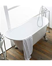 63 In Clawfoot Freestanding Bathtub-Pure White, Antique Soaking Oval Slipper Bathtub, Gracefully Shaped Tub with Chrome Brass Drain and Claw Feet for Bathroom, Acrylic, cUPC Certified (1675W)