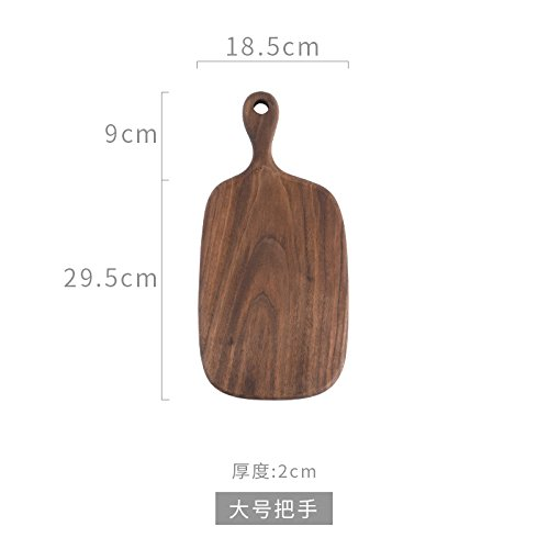 Black Walnut Wood Cutting Board Bread Board Sushi Board Pizza Board Cutting Board Tray All Solid Wood Whole Wood Without Stitching With Handle 29.5X18.5Cm ()
