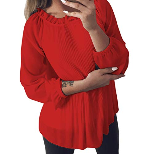 ClearanceWomensTops,KIKOY Solid Chiffon Ruffled Long Sleeve O-Neck Shirt
