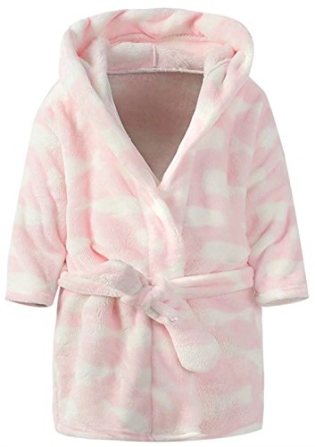 Ameyda Cute Cartoon Whale Boys Girls Hood Bathrobes Kids Flannel Sleepwear Robes Color,100 ()