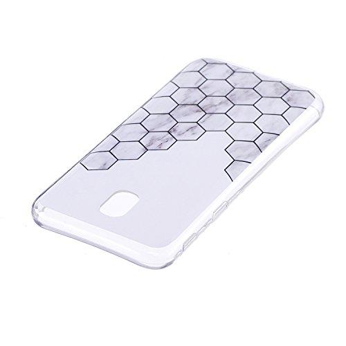 Galaxy J5 2017 (EU model) Soft TPU Carcasa Funda, KaseHom mármol Cover Geometría de granito geométrica caso de las iniciales Protectiva Anti-rasguños Caso y [Protector de pantalla gratuito] -8 3