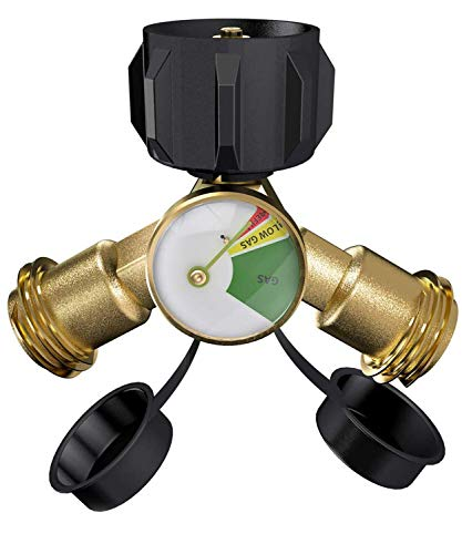 SHINESTAR Propane Y Splitter Tee Adapter with Propane Tank Gauge Level Indicator Leak Detector - Work with BBQ Grills, Camping Stoves, Gas Burners, Heater (Two Tank Propane Grill)