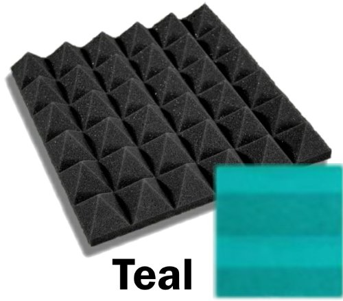 48 Pack of (12 x 12 x 2)Inch Acoustical Pyramid Foam Panel for Soundproofing Studio & Home Theater (Teal) by F-Factory(Acoustic Foam)