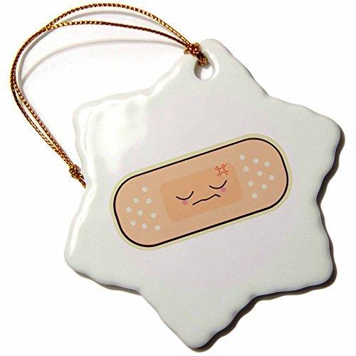 Bandage Boo (OneMtoss Dooni Designs Cute Kawaii Designs Cute Kawaii Boo Boo Bandaid Bandage Cartoon Snowflake Porcelain Ornament)