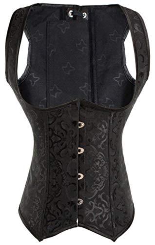 Coolweary Women's Faux Leather Underbust Steel Boned Corset Waist Cincher Bustier Tops Black Brocade XL/Bust:35-37inch Waist:29-31inch