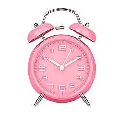Peakeep 4 Twin Bell Pink Alarm Clock, Battery Operated, Loud