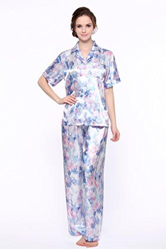 Short Sleeve Classic Satin Pajama Set (L, Blue Floral Print) ()