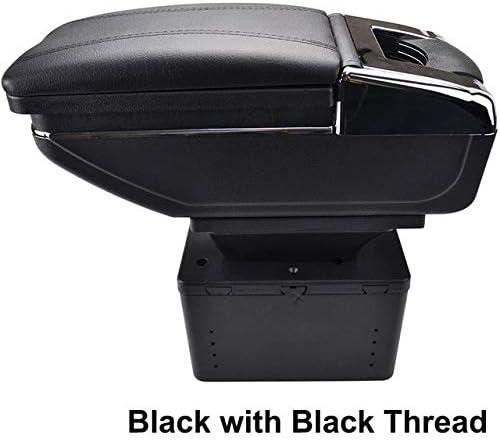NYSCJJJ Drehbare Aufbewahrungsbox for Nissan/VW/Kia/Honda Center Mittelarmlehne Konsole Auto Armauflagen (Color Name : Black Thread)