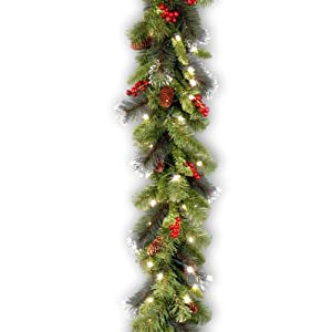 National Tree Company Pre-lit Artificial Christmas Garland | Flocked with Mixed Decorations and Lights | Crestwood…