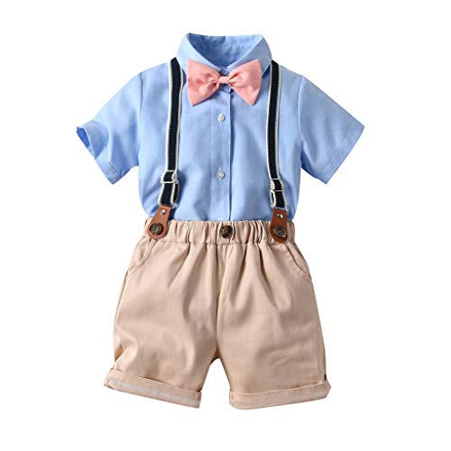 0-5T Toddler Infant Baby Boys Gentleman Outfits Suits, Short Sleeve Shirt+Bib Pants+Bow Tie Overalls Layette Sets for Party Wedding (Khaki, 6-12 Months)