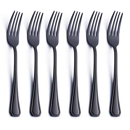 6 Piece Salad Dessert Fork Set Black 18/0 Stainless Steel 6.9 Inch Small Dinner Appetizer Fork Serving for 6 Silverware Flatware Forks Only Bulk Modern Heavy Weight Eating Cutlery Mirror ()